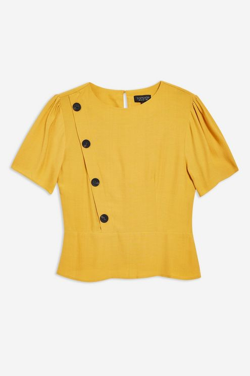 Topshop button short sleeve blouse