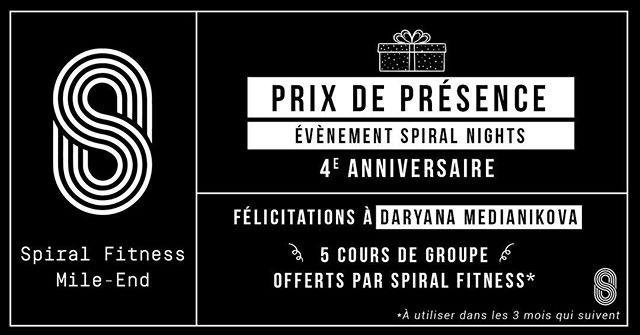 ❗️1er des nombreux prix de présence❗️ Félications à @daryna_mediani pour avoir remporté 5 cours de groupe offerts par Spiral Fitness! 💪🏼#spiralfitnessmtl #spiralnights