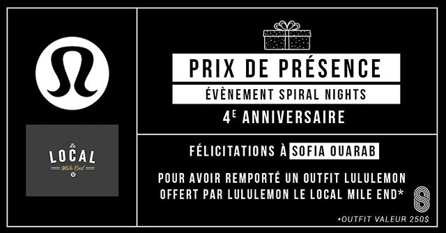 ❗️2e prix de présence❗️ Félicitations à @tousofia pour avoir remporté un outfit d'une valeur de 250$ offert par Le Local lululemon - Mile End ! 💪🏼#spiralfitnessmtl #Spiralnights #lululemon