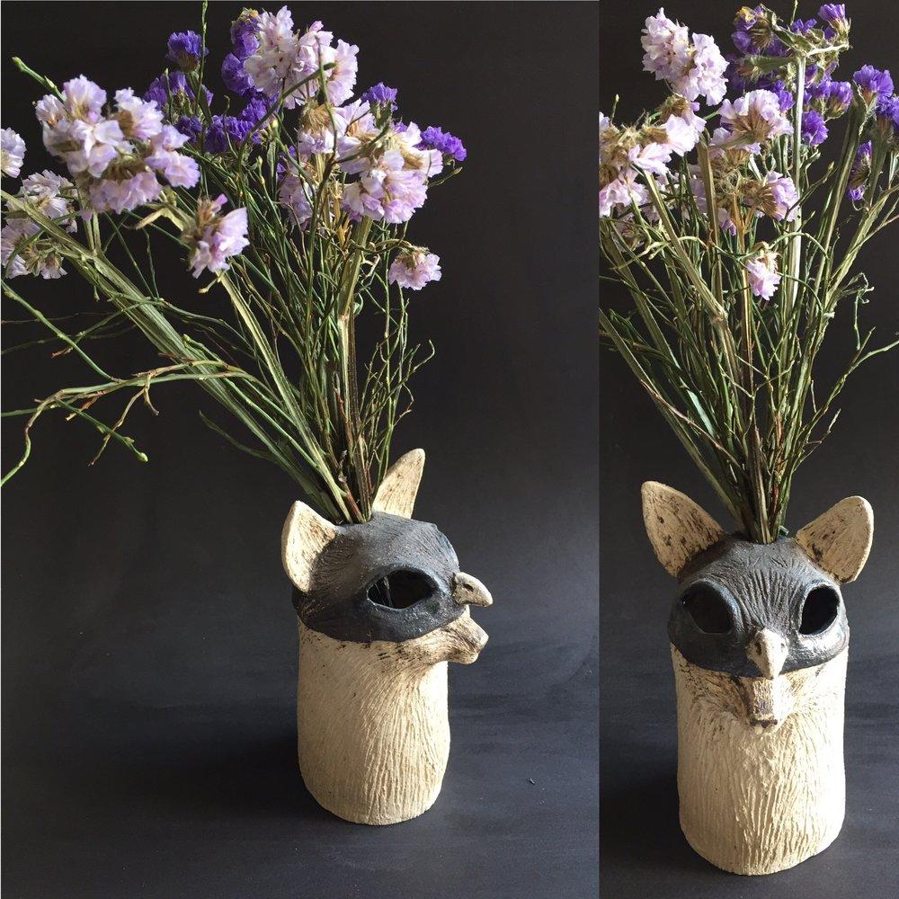 Cache vase - Chat-moineau - grès blanc et noir - 15 cm - 250€