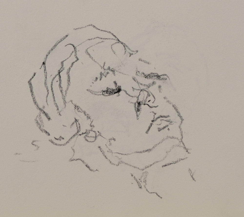 """Patricia Sleeping"" crayon on paper  2016  6""x6"""