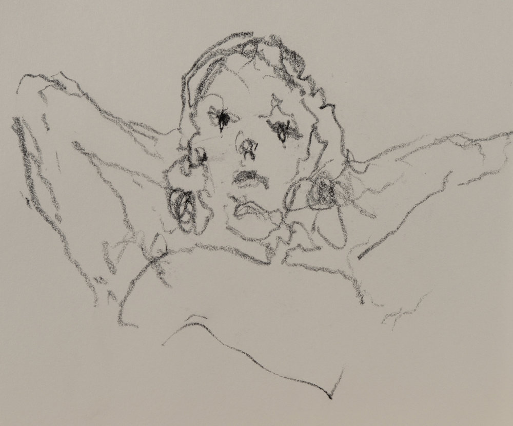 """Patricia Reclining"" crayon on paper  2016  6""x6"""