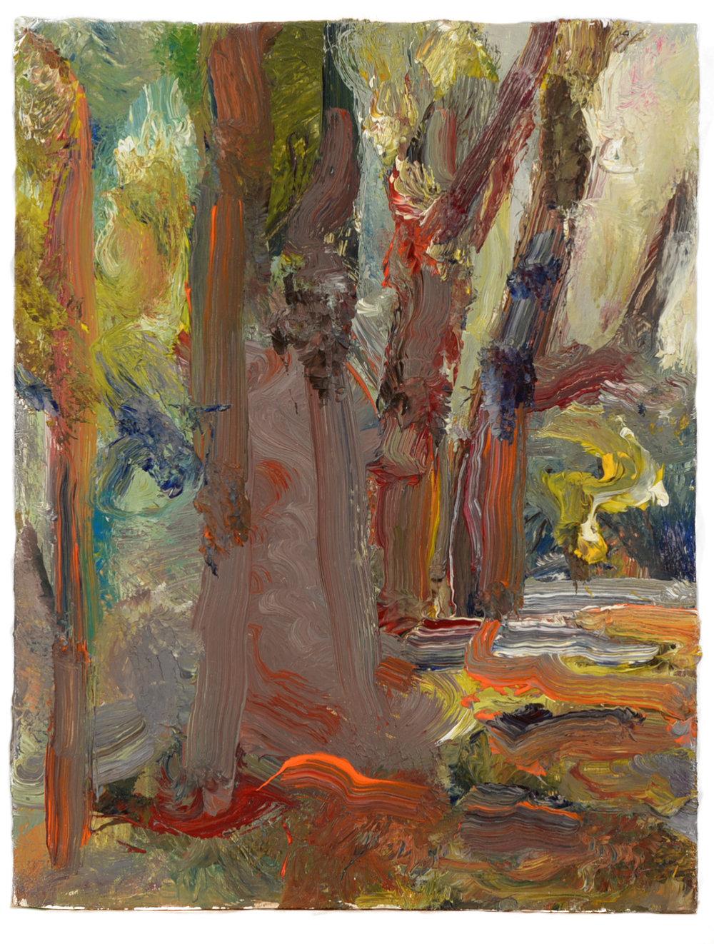 """""""Tree Trunks"""" oil on panel  2015  6""""x10"""""""