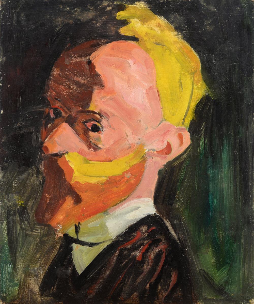 """Vuillard Self Portrait, Copy"" oil on panel  1985  19""x16"""