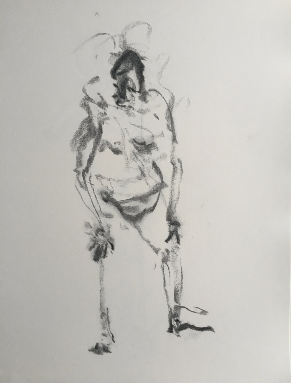 """Crouching Man"" charcoal on paper  2017  17""x14"""