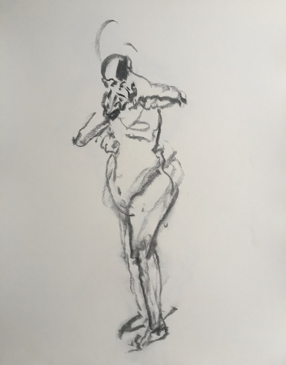 """Nude Figure"" charcoal on paper  2017  17""x14"""