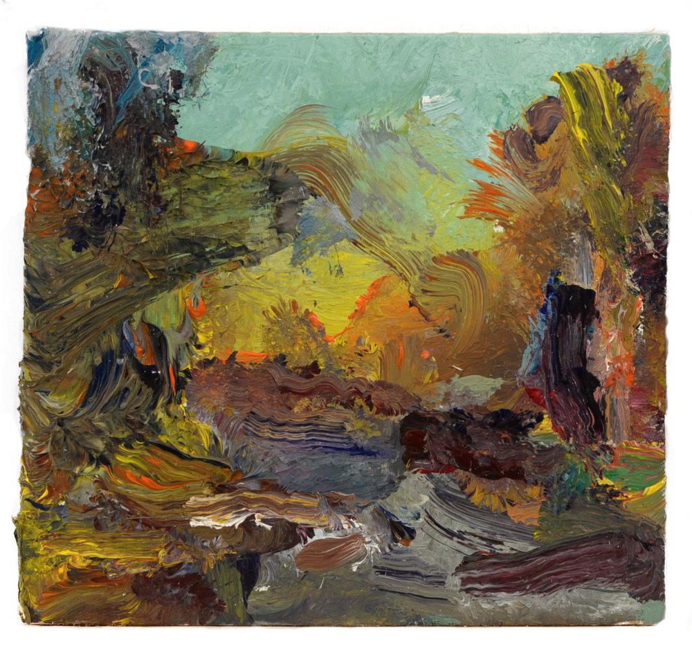 """Hamburg River"" oil on panel  2016  4""x4.5"""