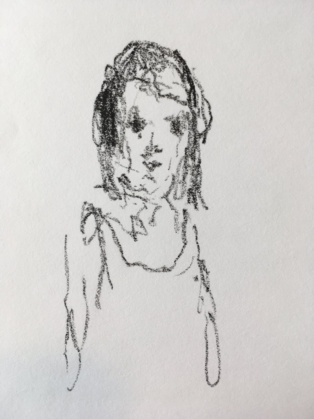 """Patricia""  crayon on paper  2017  6""x6"""