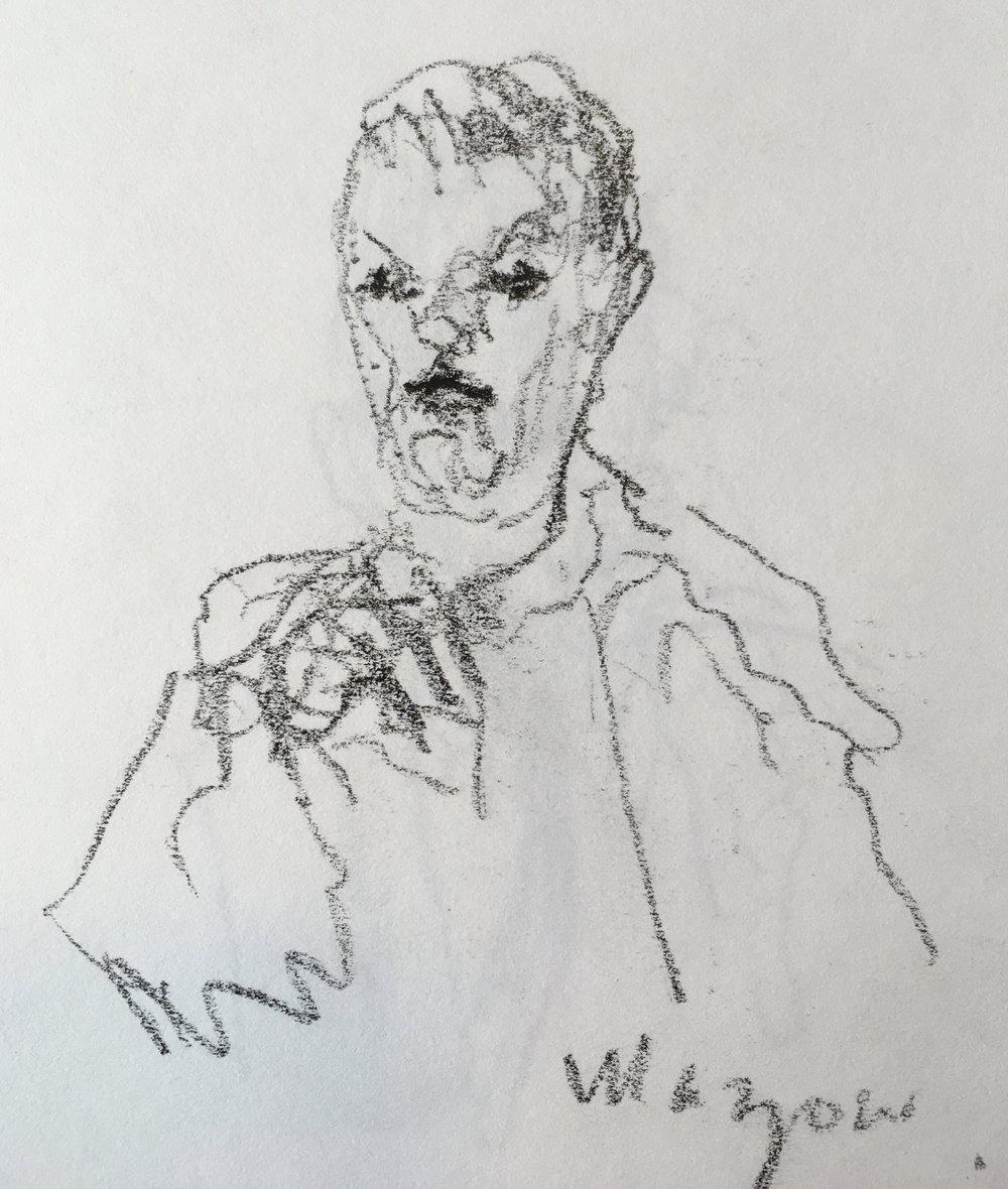 """Abraham Maslow""  crayon on paper  2017  6""x6"""