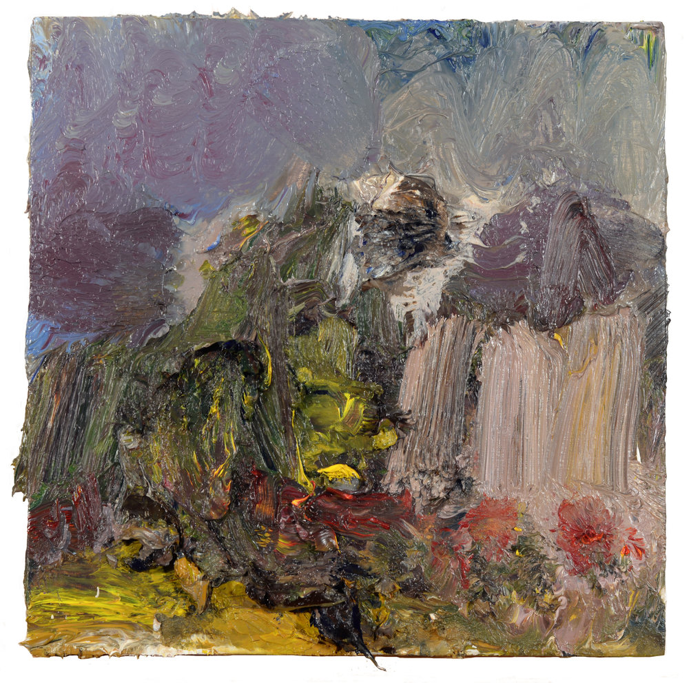 """Niantic Landscape"" oil on panel 2018  8""x8"""