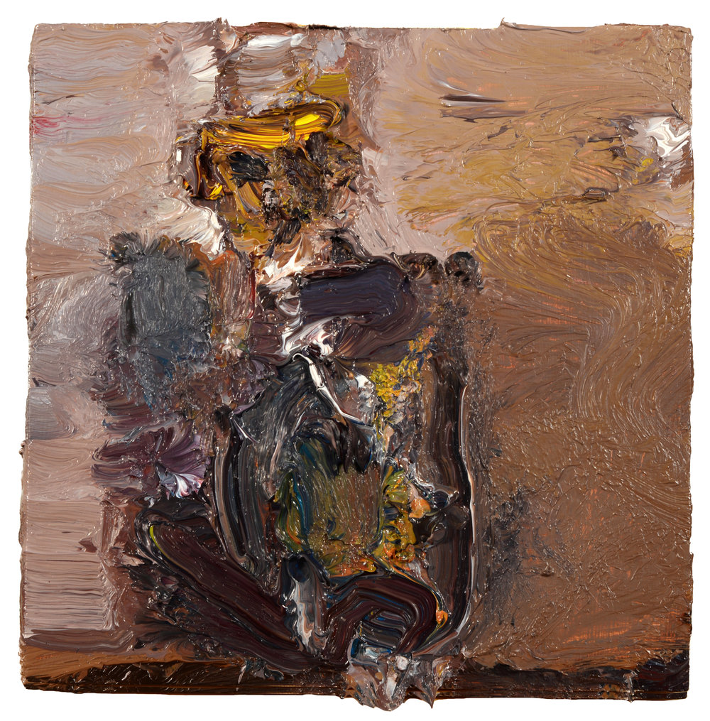 """Self Portrait"" oil on panel 2018  8""x8"""