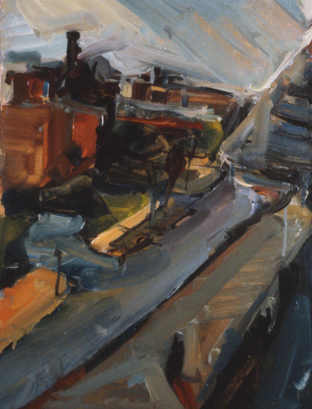 """Rooftop Landscape"" oil on paper 1986  14""x10"""