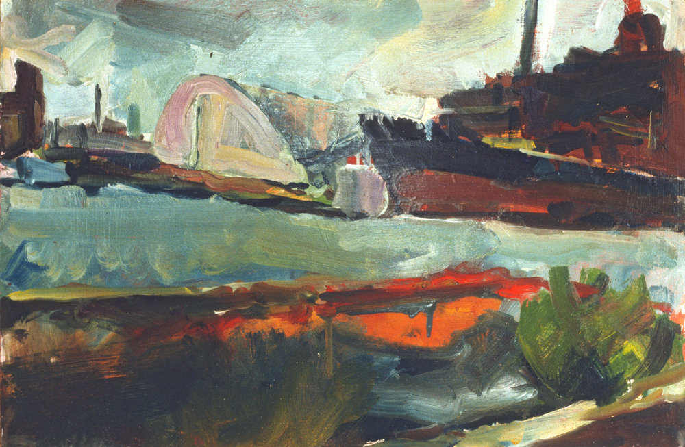 """Baltimore Harbor"" oil on panel 1986 12""x20"""
