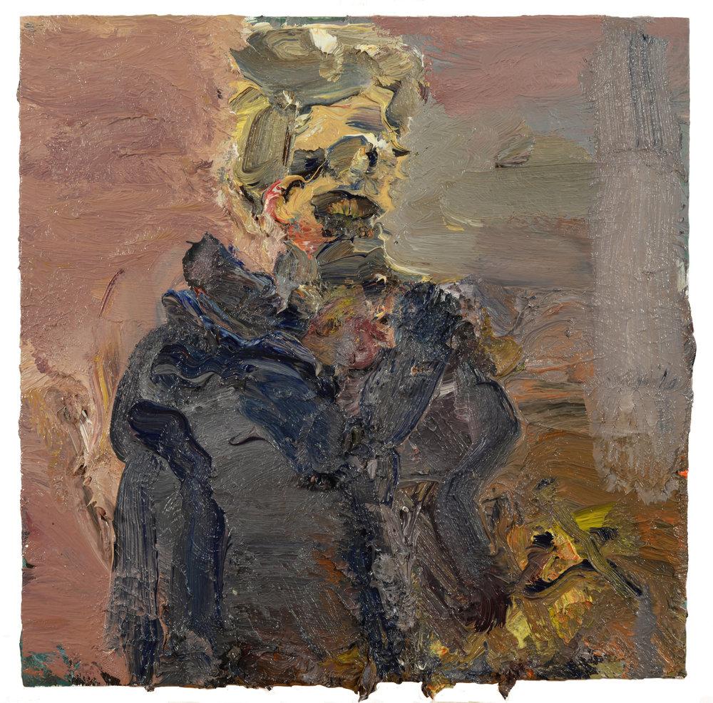 """Self Portrait"" oil on panel  2018  12""x12"""