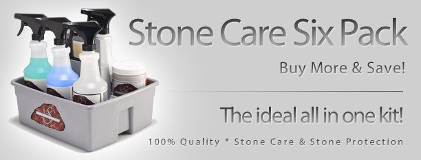 STONE CARE SIX PACK  Our six most commonly used products, with a handy carrying case.  CONTAINS:  Neutra Clean, Floor Clean & Conditioner, Jell Clean, Stone Spray, Glass Clean and Disinfect Clean.