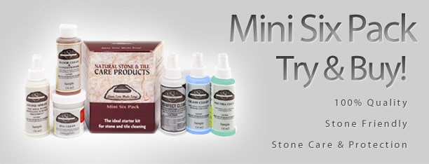 MINI STONE CARE SIX PACK  Ideal starter kit for stone and tile cleaning  CONTAINS:  4oz bottles of Neutra Clean, Floor Clean & Conditioner, Jell Clean, Stone Spray, Glass Clean and Disinfect Clean.