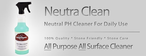 NEUTRA CLEAN  This is a ready to use, all purpose, neutral pH balanced cleaner. Designed for daily use on all stone and non-stone surfaces  WHERE TO USE  Designed for daily use on all stone and non-stone surfaces, like appliances, floors, sinks, faucets, fixtures, and walls. Not recommended for mirrors or glass.  DIRECTIONS  Simply spray on desired surface and wipe with a paper towel or soft cloth. Spray on showers & fixtures, agitate with a scrub brush, cleaning pad or cloth. Rinse with water [let air dry or wipe dry].