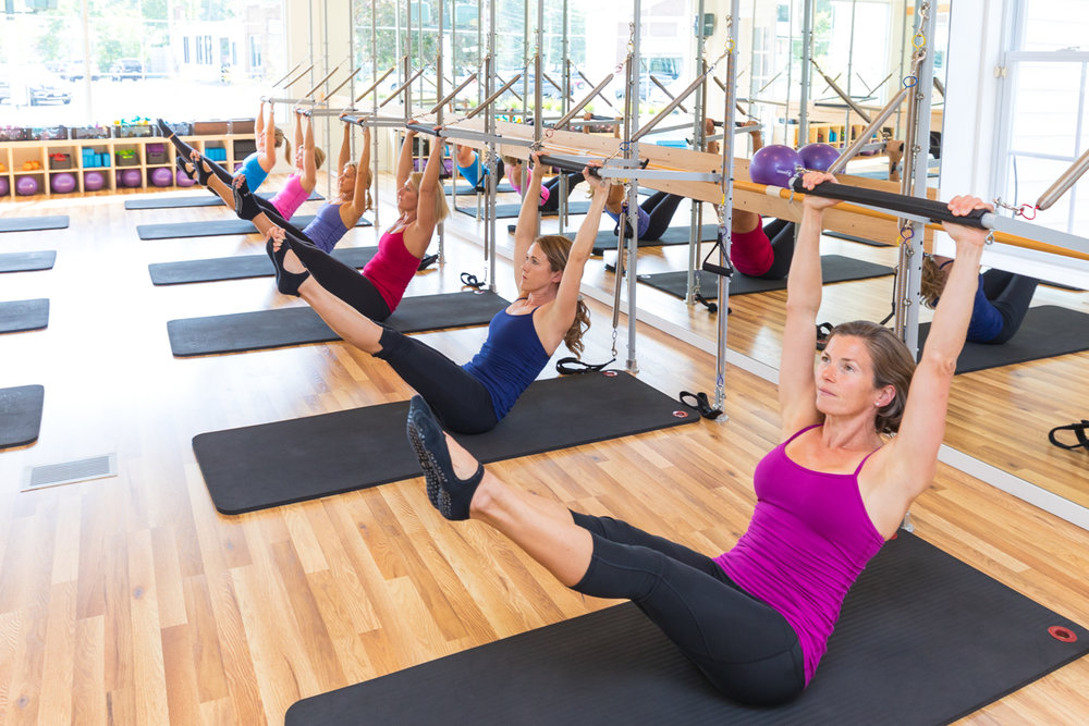 Equipment  -  based Pilates at a fraction of the usual cost is something we are known and appreciated for. The work is performed using a combination of springs and bars to create additional resistance and/or assistance while executing exercises from the Pilates Cadillac repertoire.  This full-body workout includes Pilates Mat exercises and props and students get feedback from the equipment to help them work deeper in the core.