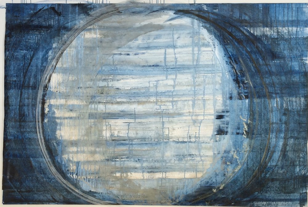Moon and Sea; acrylic on tyvek