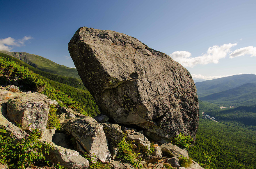 The Glen Boulder ever so precariously balanced high above Route 16