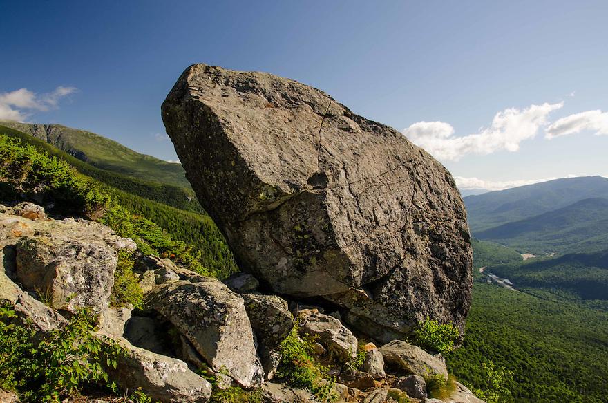 The Glen Boulder ever so precariously balanced high above Route 16