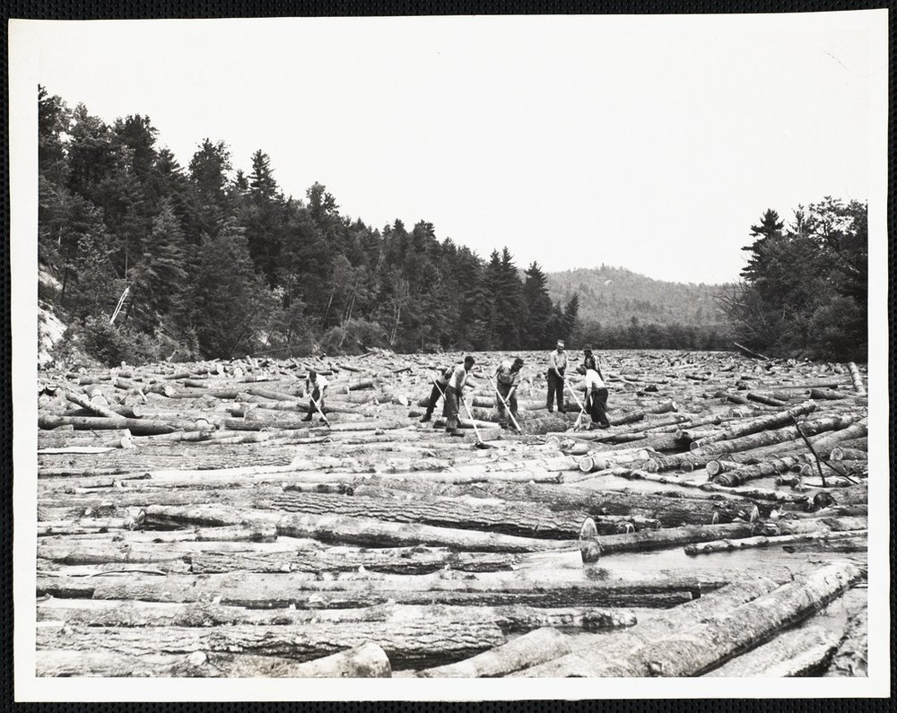 Clearing a log jam on the Saco River in the late 1800s