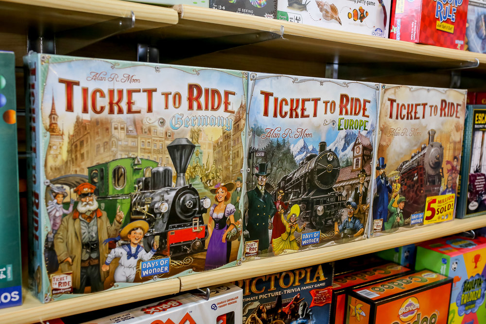 Kidtopia  is absolutely brimming with good old-fashioned board games, and even lots of brand new and exciting ones like Ticket to Ride!