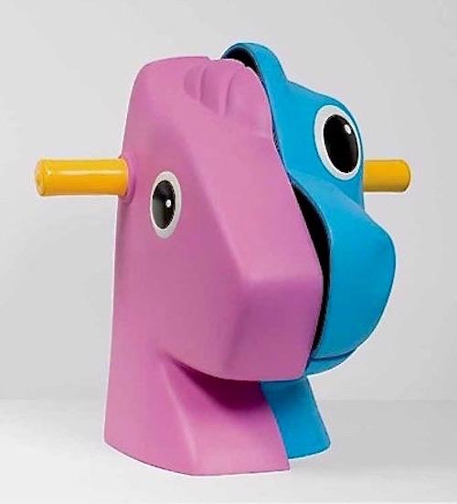 "Artist: Jeff Koons  Title: Split Rocker (Pink/Blue)  Medium: Polychromed aluminum  Year: 1999  Size: 13.5"" x 14.5"" x 13.0"""