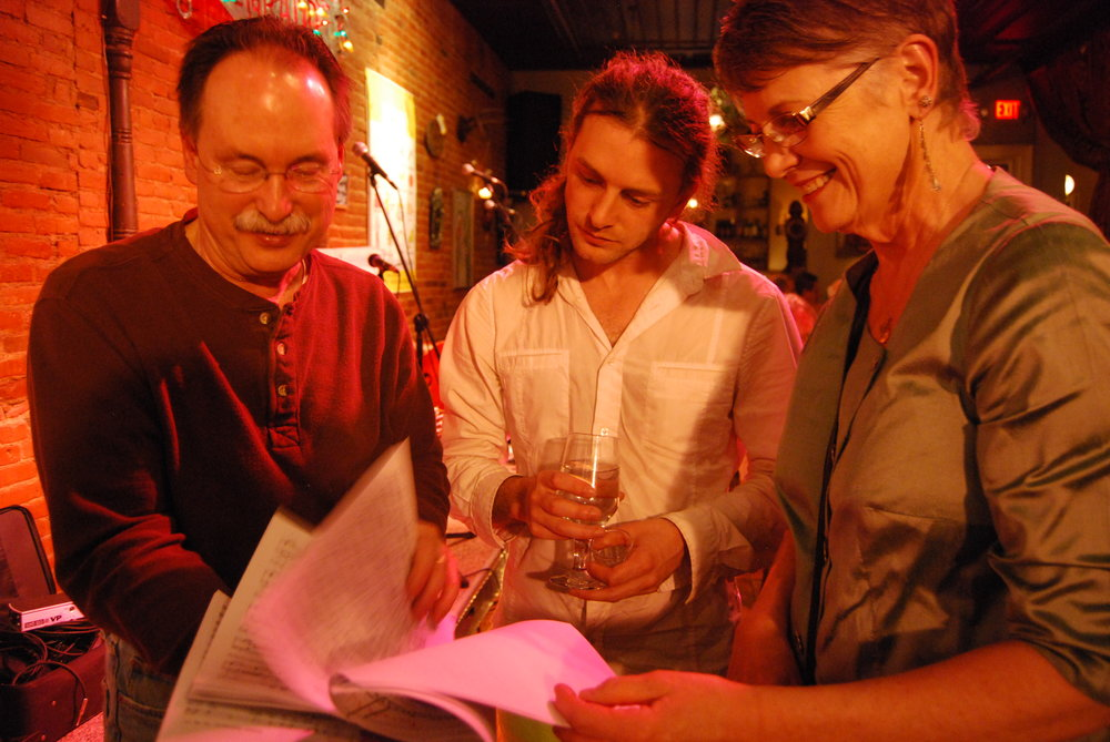(l) Morgan Creek Winemaker Georg Marti, Ben Marti, Eleda Krueger review music selections for Opera ala Carte!