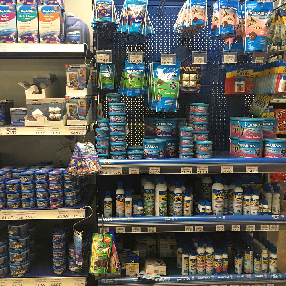 A small section of the aquarium fish supplies we stock.