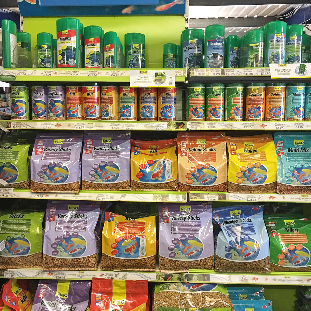 Some of the Tetra pond fish foods available.
