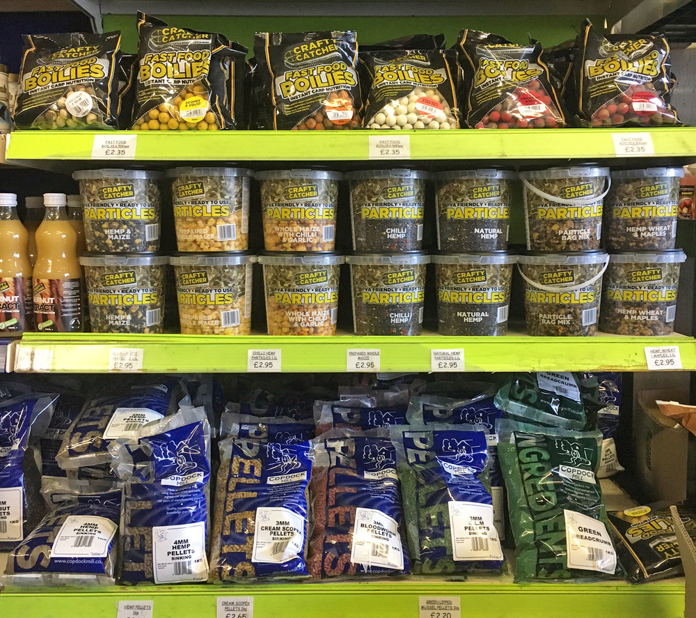 Some of our Crafty Catcher and Copdock Mill bait we stock.