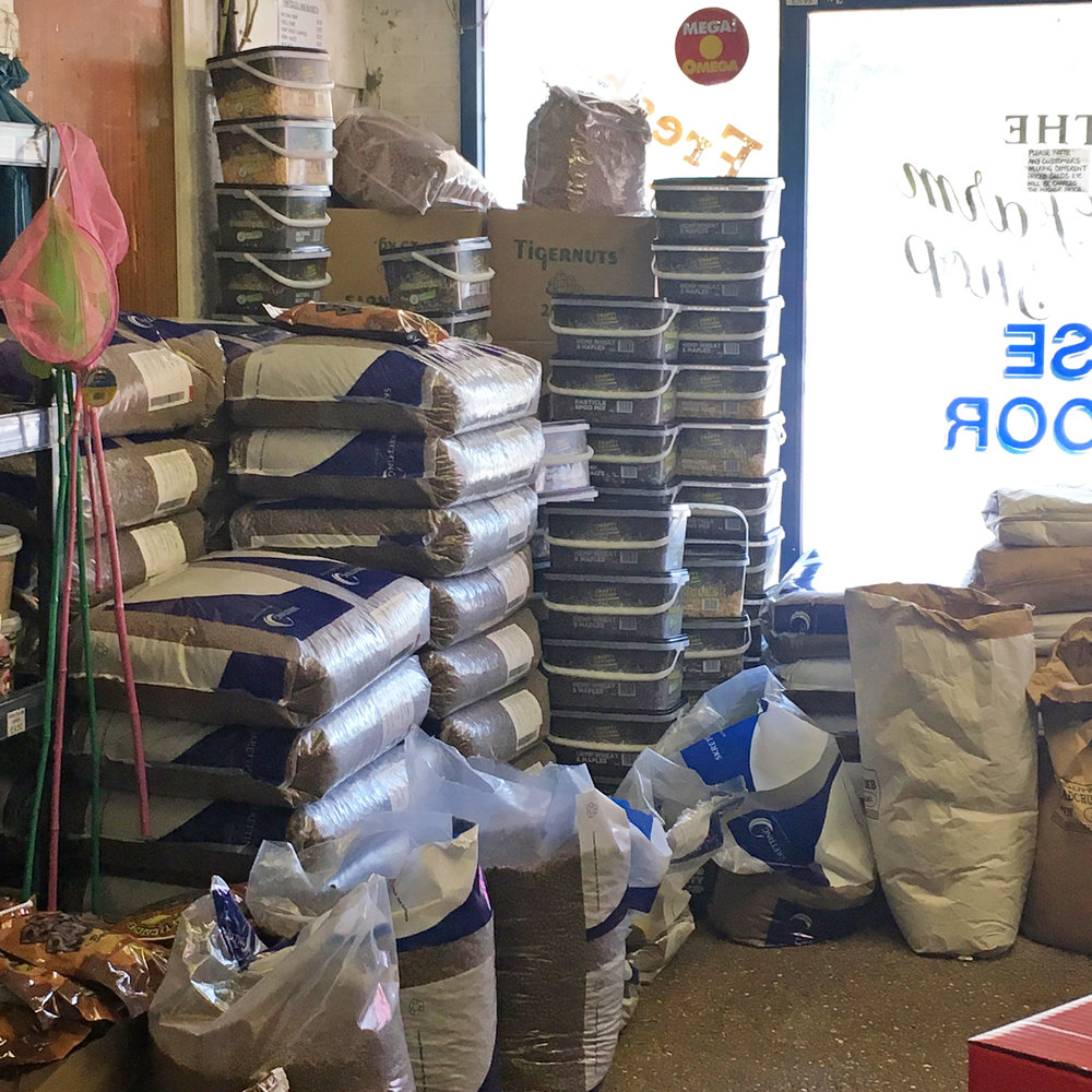 1/3 of our selection of large bags and loose feed.
