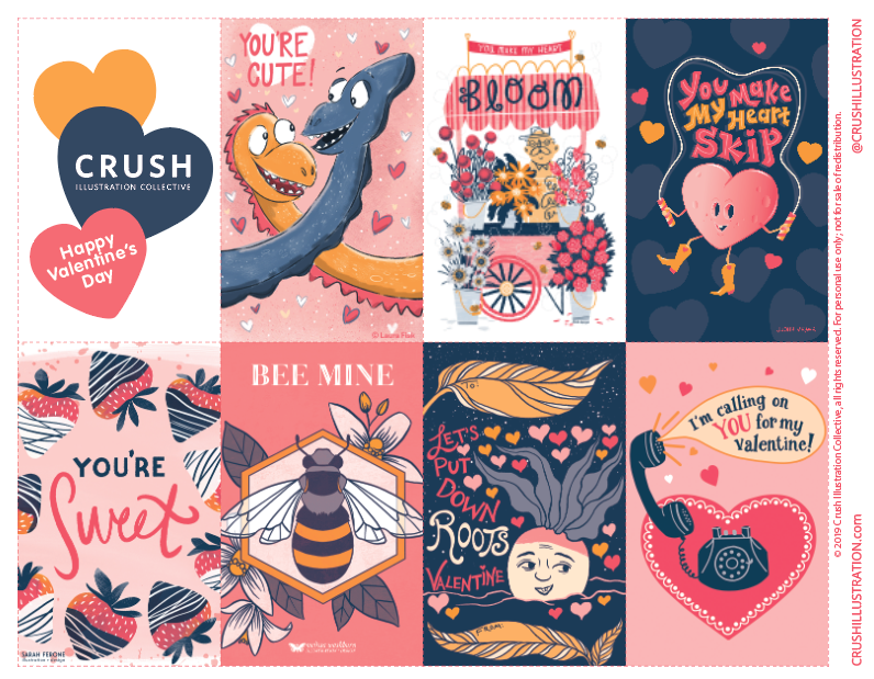 FREE Printable Valentines - Download this PDF for your personal use.All images are copyrighted. For commercial use/licensing just contact us at hello@crushillustration.comHappy Valentine's Day!