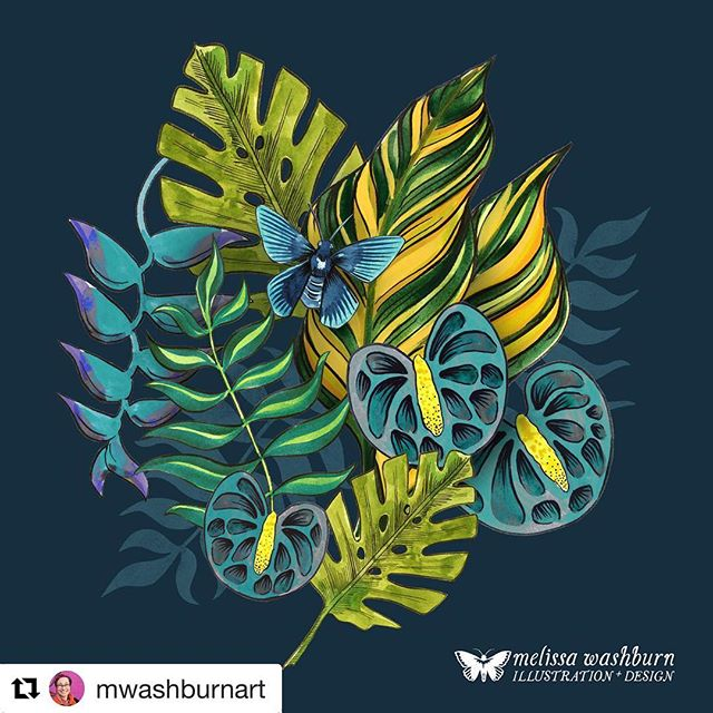 Check out this gorgeous tropical botanical piece from @mwashburnart , who is currently enrolled in @victoriajohnson_createexplore 's Explore Florals course!  #Repost @mwashburnart with @get_repost ・・・ I ended up reworking this piece from #exploreflorals in a more blue-green palette. . . . @victoriajohnsondesign @victoriajohnson_createexplore #florals #tropicalart #illustration #natureillustration #botanicalart #surfacepatternillustration #bluesandgreens #twitter #patternlove