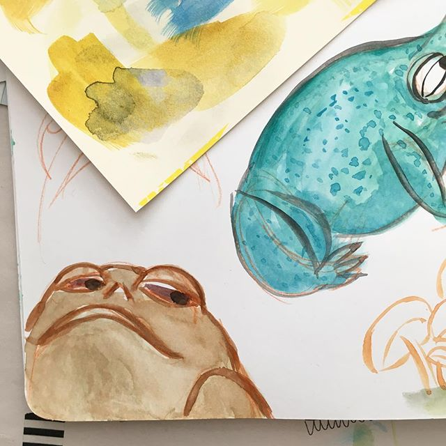 Crusher @fiskandfern doing some silly frog drawings and kinda obsessed with this guy who ended up looking like jabba the hut. 😂😂 #frogillustration #japanesewatercolor #jabbathehut