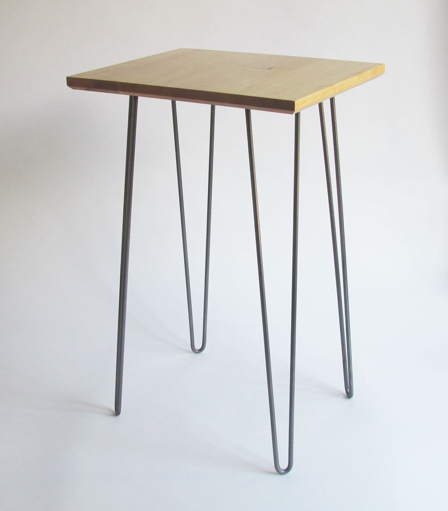 Sidetable. Maple top with steel hairpin legs.