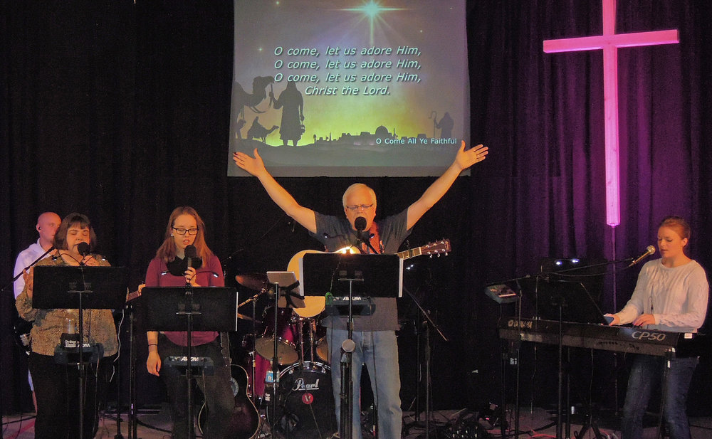 The worship team leading the congregation in song.