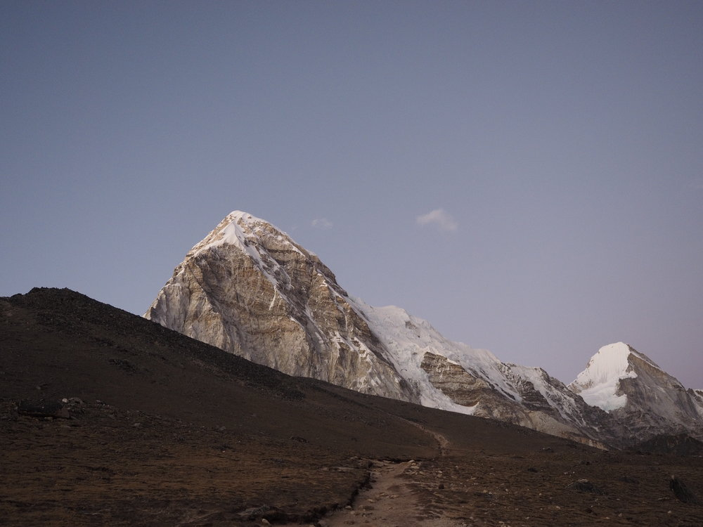 Nearing the summit of Kala Patthar as the sun sets.