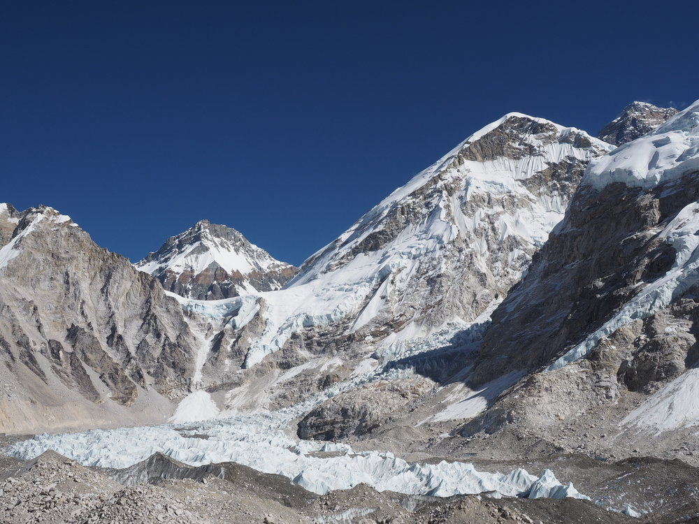 The Khumbu Icefall and start of the technical climb to the summit of Everest.