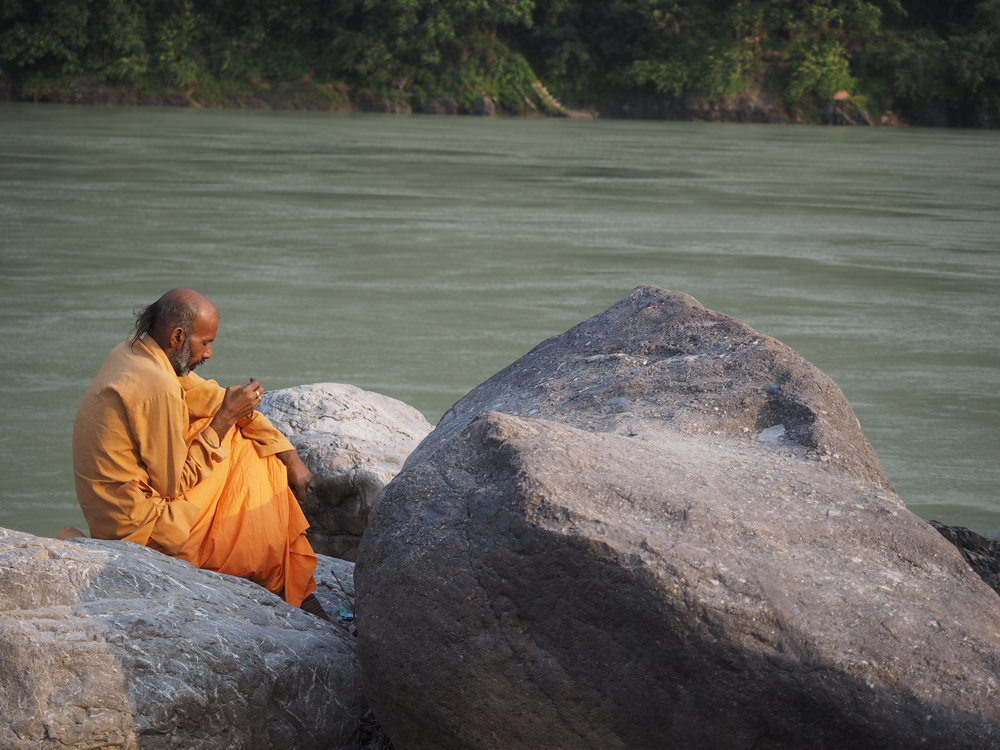 A spot of early morning meditation by the mighty Ganga.