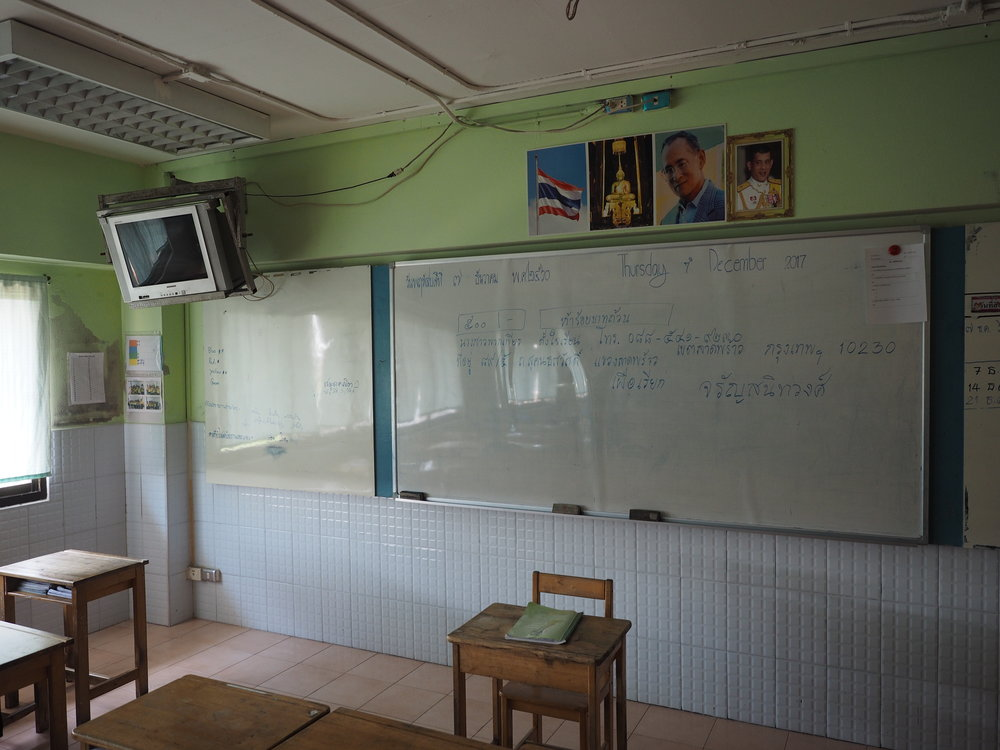 One of my classrooms. Complete with the latest flat screen audio visual technology and handy wipe clean tiles.