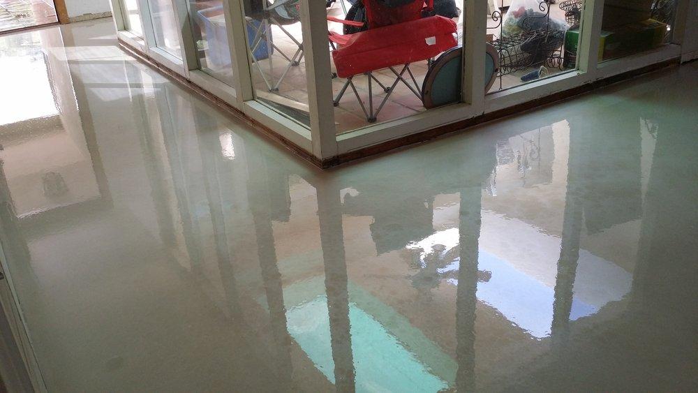 glossy pearl epoxy floor
