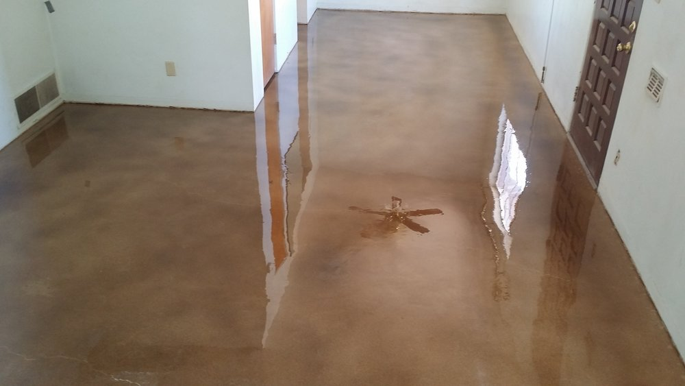 cowboy brown over existing colored concrete. honed and polished to perfection