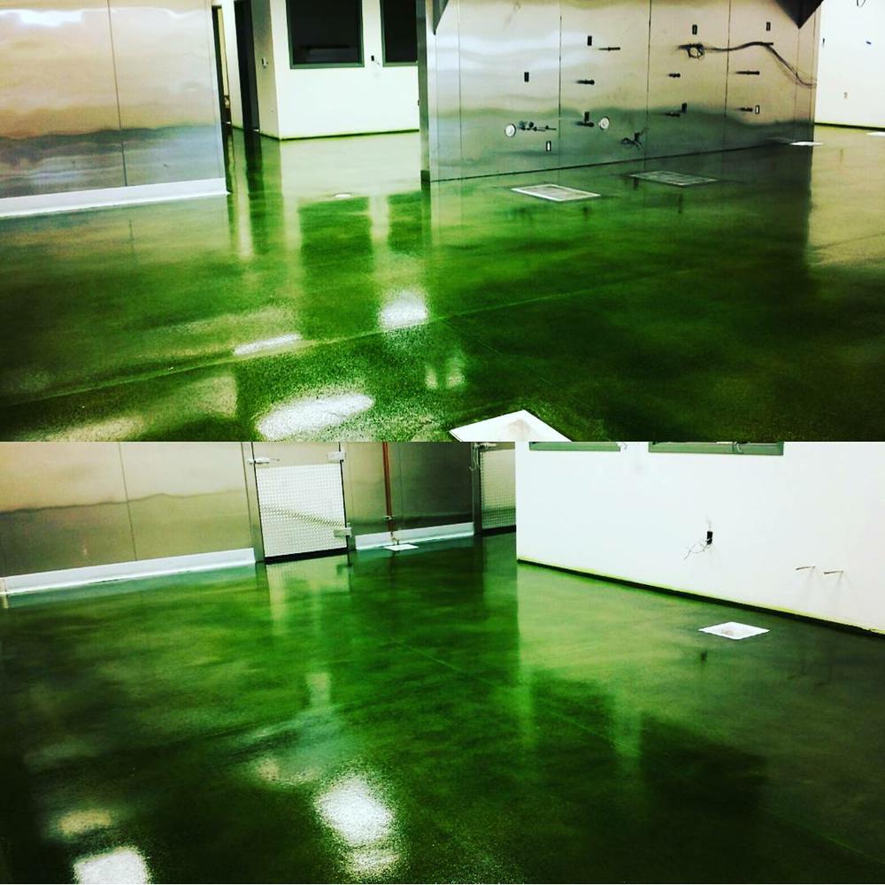 bold emerald green concrete stain