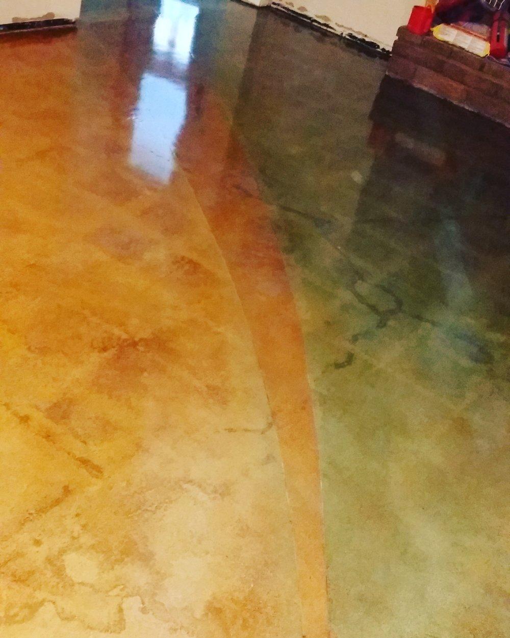 acid stain concrete floor with decorative saw cuts. original slab