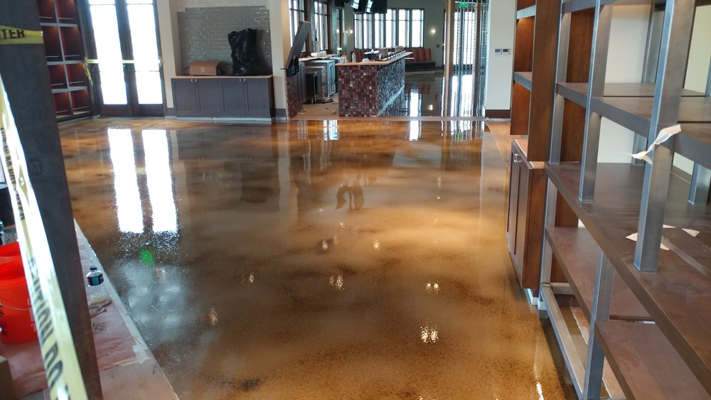 glossy concrete stain with polyurethane sealer