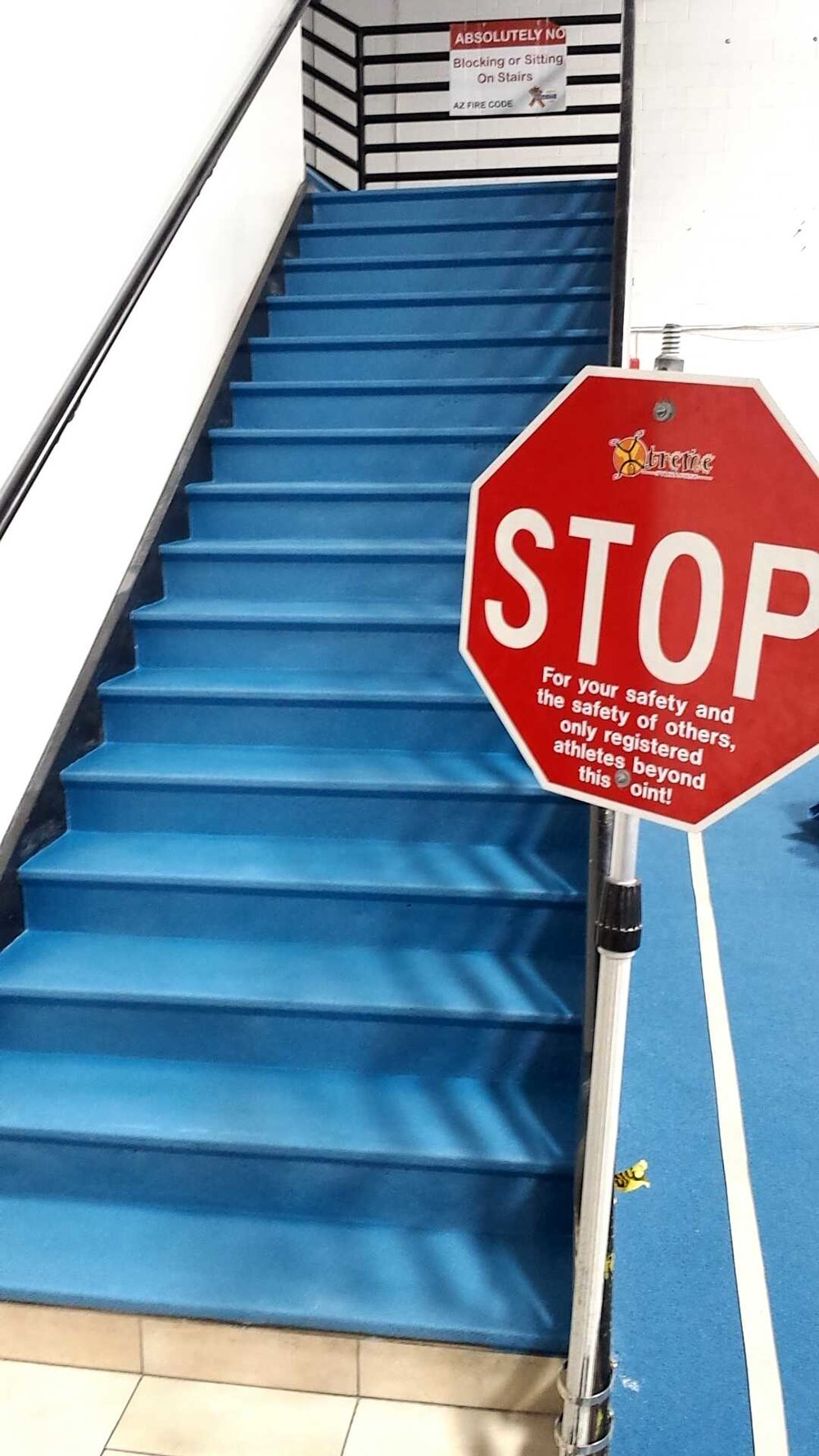 TRAFFIC COATING ON STAIRS IN SAFETY BLUE COLOR