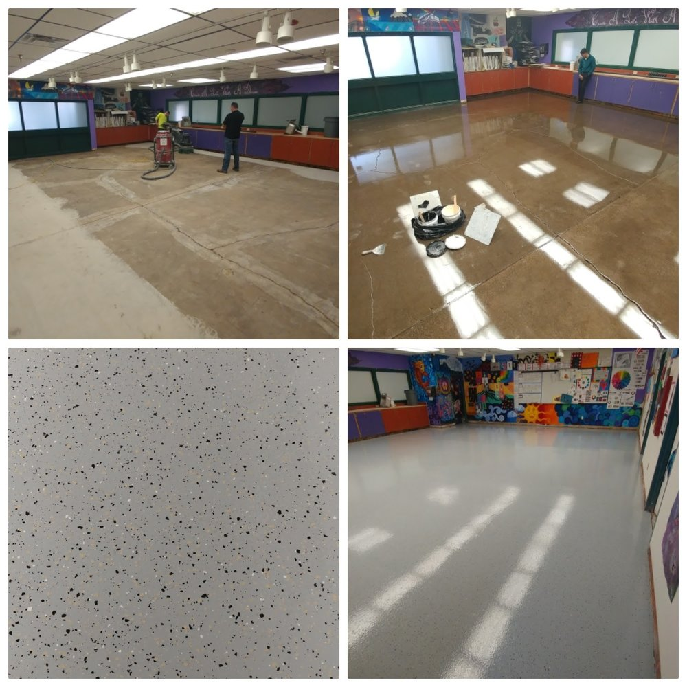 Epoxy Chip Flooring - Commonly used in garages, chip floors can be functional in many other spaces as well. These floors consist of an epoxy primer, base coat, paint chip coverage to 100% with a coat of sealer to lock the chips in place and a high performing, scratch-resistant polyurethane top coat.