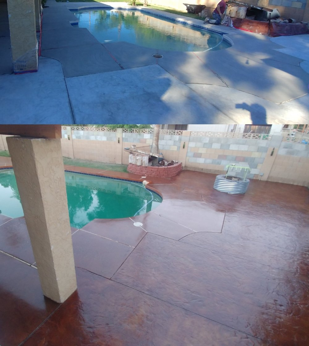 Before and after - acid stained pool deck